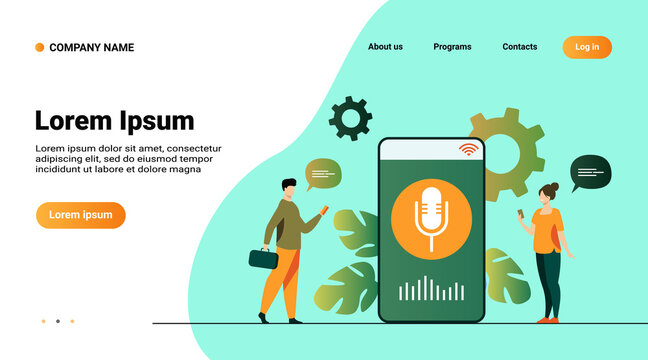 People using voice assistant app on smartphone with speaker on screen. Vector illustration for sound technology, ai, smart interface, soft ware development concept