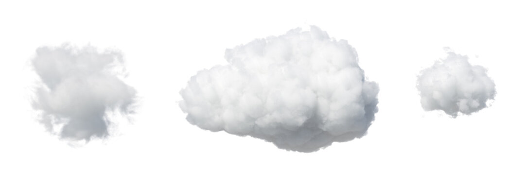 3d render. Collection of random shapes of abstract clouds. Cumulus different views clip art isolated on white background.
