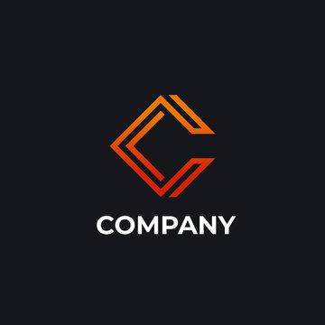 Unique modern geometric creative elegant letter C logo template. Vector icon.