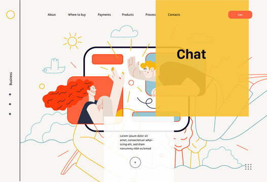 Business topics - chat, web template. Flat style modern outlined vector concept illustration. Tablet screen with messages of chatting couple - young man and woman. Business metaphor.