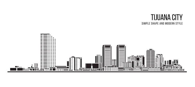 Cityscape Building Abstract shape and modern style art Vector design -  Tijuana city