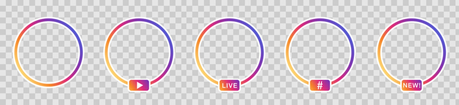 Social media style live icons, transparent background. Vector.
