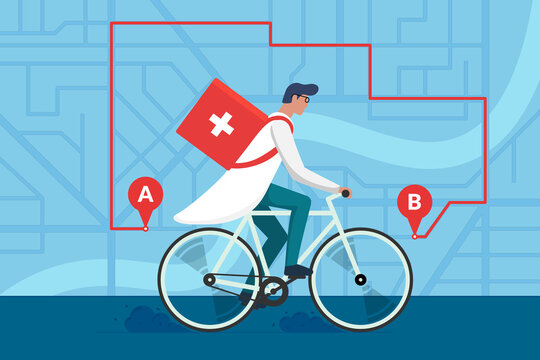 Medicine pharmacy delivery. Male doctor riding bicycle with medical surgical sanitary box first aid on city street map plan and navigation route. Therapist pharmacist on cycle vector flat illustration