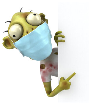 Fun 3D cartoon Zombie with a mask
