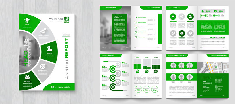 Corporate Annual Report with a cover. Brochure, Folder, Presentation, Leaflet. A4 format.