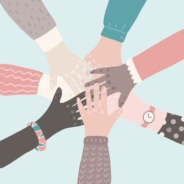 People putting their hands together. Teamwork support partnership vector concept. Social movement flat cartoon illustration.