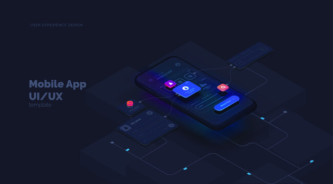 User experience. Smartphone mockup on black background with interactive user interface. The process of creating a mobile application. Website wireframe for mobile apps with active layers and links