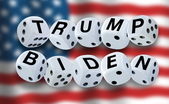 White dices spelling the words TRUMP and BIDEN with American flag waving in the background. USA election concept. Copenhagen, Denmark - October 8, 2020