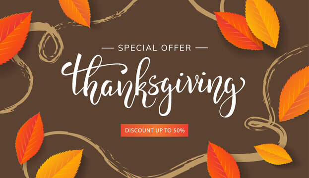 Thanksgiving banner lettering special offer autumn sale with orange leaves on brown background. Vector autumnal template