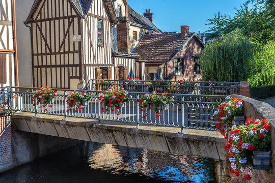 Typical and charming Norman town, Bernay, France upper Normandy