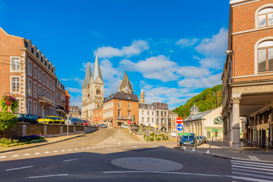 Streets in Town Center of Spa, Liège Province, Wallonia, Belgium. Spa is renowned for its natural mineral springs and Spa-Francorchamps, the circuit that hosts the annual Belgian Grand Prix.