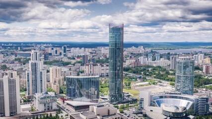 Fotobehang - Yekaterinburg, Russia skyline, aerial view of city center and Iset river. Hyperlapse timelapse dronelapse, 4K UHD.