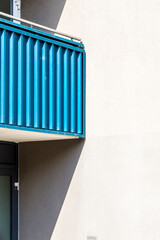 detail of a blue  balcony shoot in berlin
