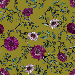 Delicate flowers with inflorescences, leaves and petals on ochre, khaki, beige background. Floral seamless pattern.