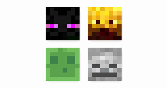 Color pixel characters in the style of eight-bit games. Concept of online games, strategies, development, character images. Vector illustration