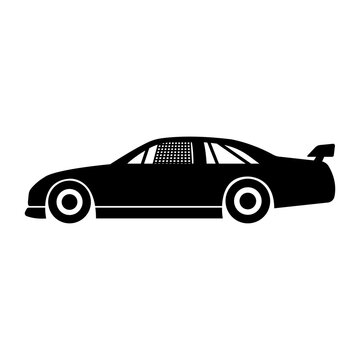Sports racing car icon. Black silhouette. Side view. National Stock Car Racing Association. Vector flat graphic illustration. The isolated object on a white background. Isolate.