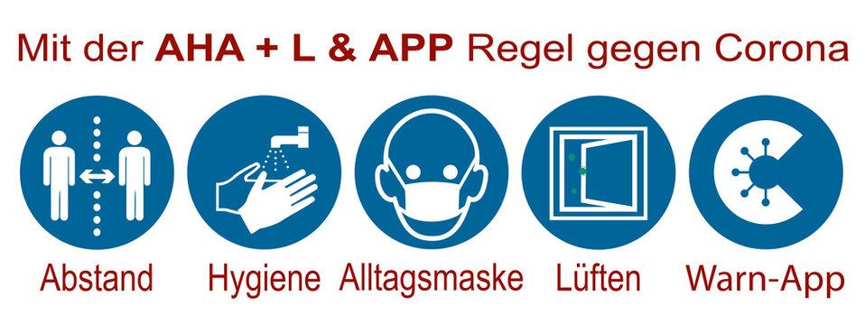 "Hinweisschild mit der ""AHA + L & Warn-App"" Regel"