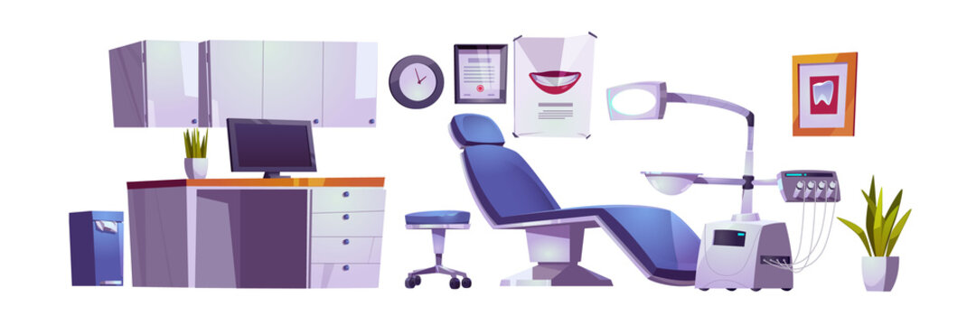 Dentist office, dental clinic practice room interior set, stomatology cabinet, orthodontist workplace with modern chair equipped with integrated engine, surgical light unit cartoon vector illustration
