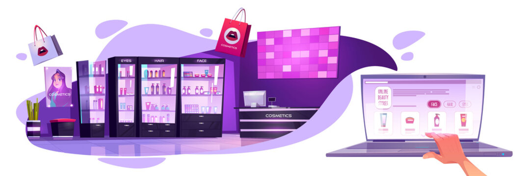Online beauty stores banner. Concept of ecommerce, mobile shopping in Internet. Vector cartoon illustration of cosmetic salon interior and online shop on laptop screen