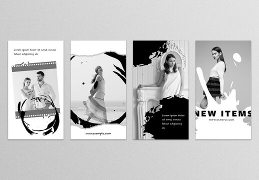 Abstract Black and White Social Media Story Layouts