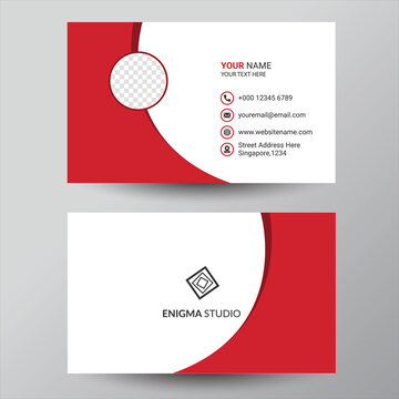 Red business card design template