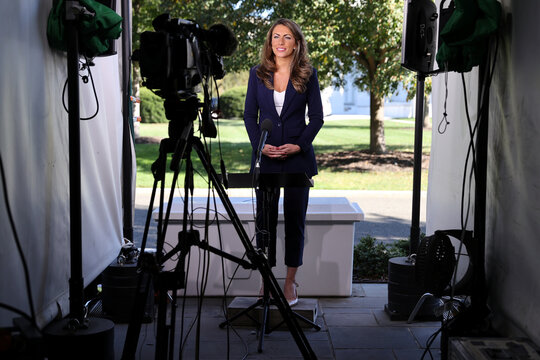 White House Director of Strategic Communications Farah gives a television interview about Trump's coronavirus disease (COVID-19), outside the White House in Washington
