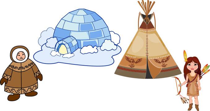 Cartoon teepee (tipi) and igloo. Traditional dwelling