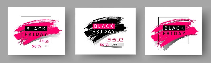 Photo sur Plexiglas Dinosaurs Black Friday poster set. Vector special offer with brush stroke backgrounds. Promo banner 50 off discount sale templates
