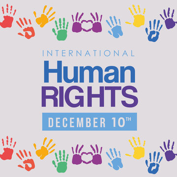 international human rights and multicolored hands prints vector design