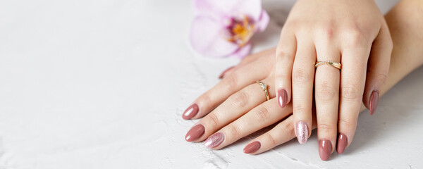 Female hands with fresh manicure