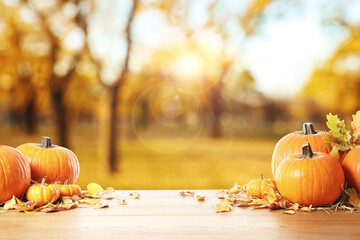 Happy Thanksgiving day. Fresh pumpkins, acorns and fallen leaves on wooden table outdoors, space...