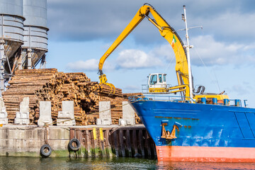 Crane with wood logs gripple loading timber on cargo ship for export in Wicklow commercial port. Transport industry in Ireland - fototapety na wymiar