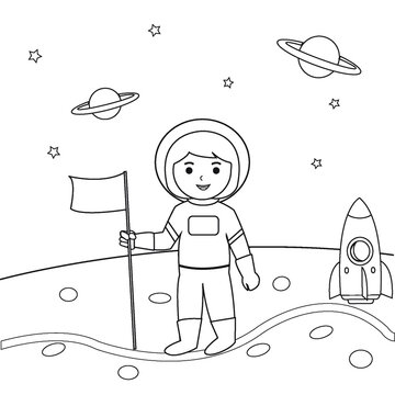Astronaut Girl In Space Outline Coloring Book for Kid Illustration Vector