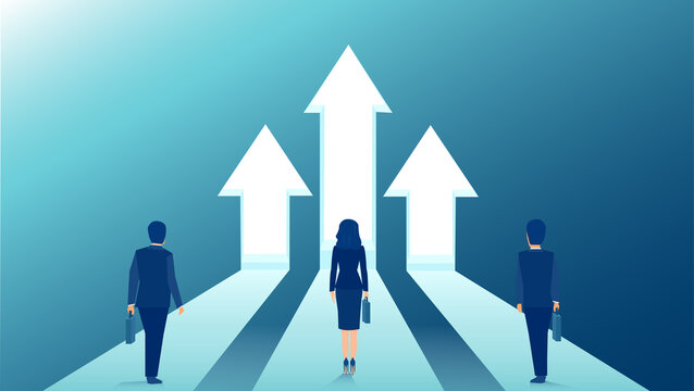 Vector of businesspeople standing on arrows growing up