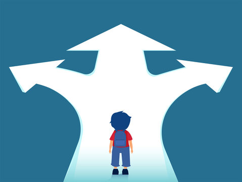 Vector of a boy with backpack standing at crossroads thinking which way to go