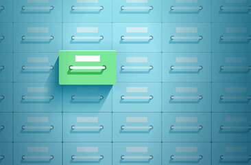 Fototapeta Vector of safe lockers one of which in green color is opened obraz
