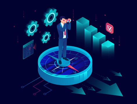 Vector of a business man standing on a compass and looking into binoculars for new financial opportunities