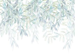 Fototapeta Watercolor leaves, wallpaper obraz