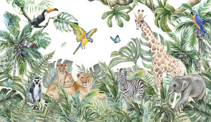 Children's wallpaper, watercolor jungle and animals. Lions, giraffe, elephant, parrots, zebra, lemur