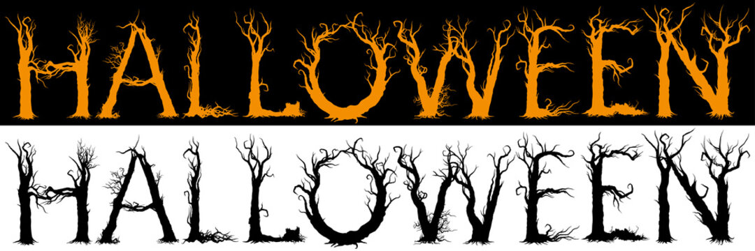 Halloween trees title/ Illustration the halloween word consisted of trees