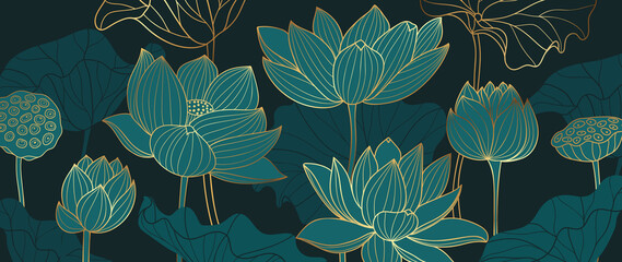 Luxury lotus background design with golden line and emerald green color. Lotus flowers line arts design for wallpaper, natural wall arts, banner, prints, invitation and packaging design. - fototapety na wymiar