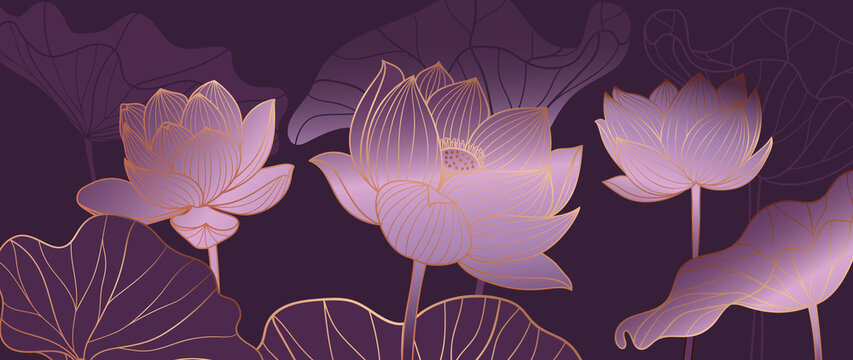Luxurious Purple background design with golden lotus. Lotus flowers line arts design for wallpaper, natural wall arts, banner, prints, invitation and packaging design. vector illustration.