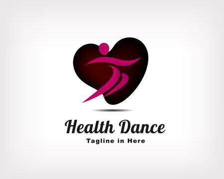 Human fit jump heart love dance sport logo icon symbol design