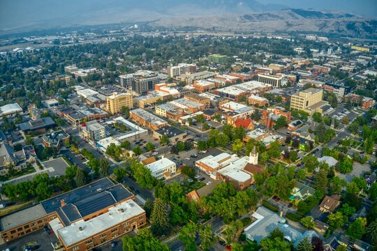 Aerial View of Downtown Bozeman, Montana in Summer