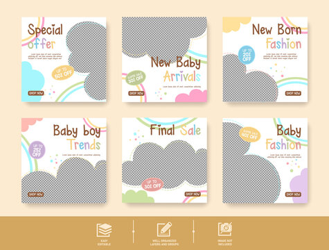 Baby clothes social media post template