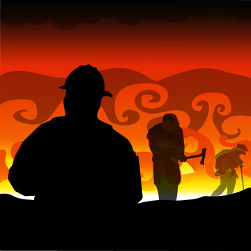 Silhouettes of Firefighters Battling a Wildfire Against a Stylised Vibrant Color Landscape