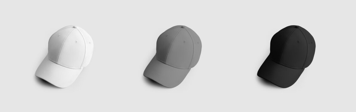 Sports baseball cap template, white, gray, black hat with visor, for design and pattern presentation, for online store advertising.