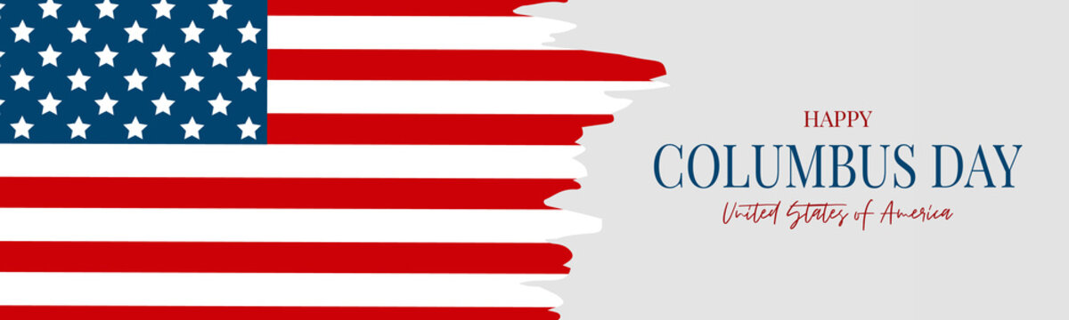 Columbus Day banner. Discovery of America concept. American flag. USA national October holiday. Vector illustration.