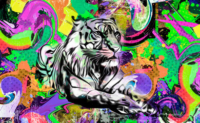 colorful background with tiger and splashes
