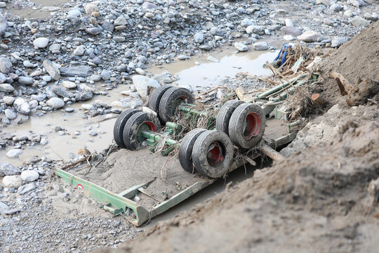 Wheels Of A Destroyed Truck